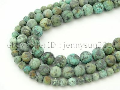 Natural Matte African Turquoise Gemstone Round Beads 15.5'' 4mm 6mm 8mm 10mm