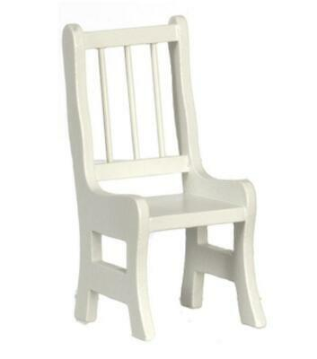 Dolls House White Wood Side Chair Miniature Kitchen Dining Room Furniture 1:12
