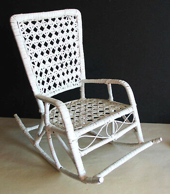 """Vintage White Wicker Doll or Bear Rocking Chair Display 13"""" tall FREE SH"""