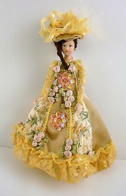 Melody Jane Dolls House Miniature 1:12 Porcelain Victorian Lady in Gold Gown