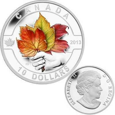 2013 O Canada Series $10 Fine Silver Coloured Coin - Maple Leafs (TAX Exempt)