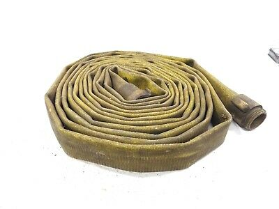 Vintage Yellow/Gold Fire Hose Brass Couplers  Fire Hose Water Hose 50Ft