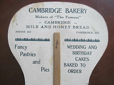 Cambridge Bakery Maryland MD Vintage Advertising Fan~Pretty Girl on Front