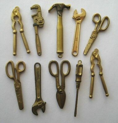 VINTAGE Miniature Metal TOOL CHARM LOT Movable~Scissors~Tin Snips~Pliers~Wrench