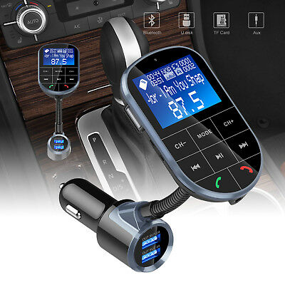 Bluetooth FM Transmitter Hands-free Car-Kit Radio AUX Audio Adapter USB Charger