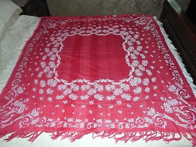 Antique Turkey Red Tablecloth Jacquard Damask Reversible