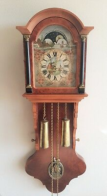 Wall Clock Dutch Friese Hermle Vintage Era 8 Day Chain Driven BIM BAM Moon Dial