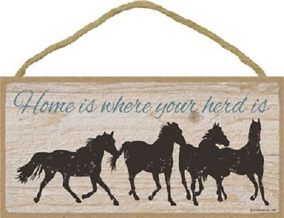 HOME IS WHERE YOUR HERD IS Wood HORSE SIGN wall hanging PLAQUE animal USA MADE