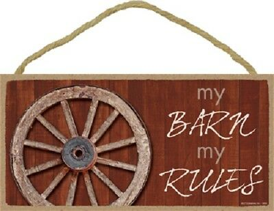 MY BARN MY RULES Wood SIGN wall hanging NOVELTY PLAQUE USA MADE
