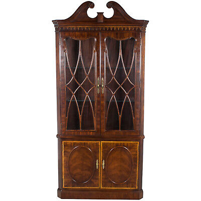 Large Mahogany Double Door Corner Cabinet Cupboard Hutch w Light Glass Shelves