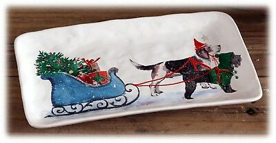 Ceramic Dolomite Christmas Plate Tray with Dogs Pulling Santa's Sleigh Set/2 NEW