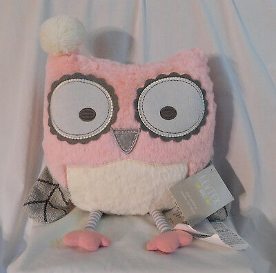 """16"""" Levtex Baby Pink Owl Pillow Nursery Decor - New, but Disabled: 1 Ear Only"""