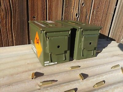 2 Pack - 50 Cal M2A1 Metal Ammo Can Box-US Army Military Steel Surplus