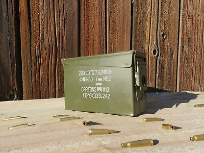 30 Cal Ammo Can Army Military M19A1 Metal Surplus Storage Box 7.62 MM