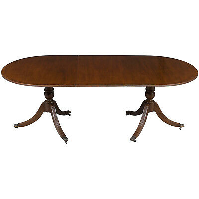 English Antique Style Duncan Phyfe Double Pedestal Dining Room Table Extending