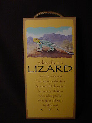 ADVICE FROM A LIZARD wood INSPIRATIONAL SIGN wall NOVELTY PLAQUE animal USA MADE