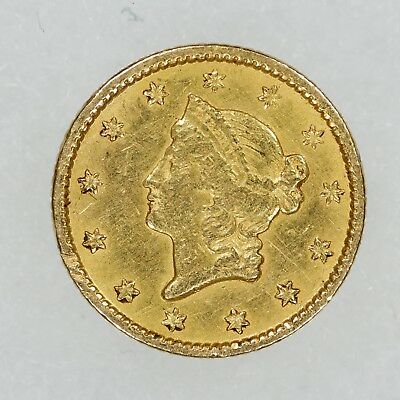 1851 Liberty Head Gold Dollar $1 Coin Type 1 Ex Jewelry Reverse Damage (6686)