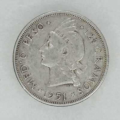 1951 Dominican Republic 1/2 Peso Km#21 Low Mintage Choice Xf Extra Fine (6694)