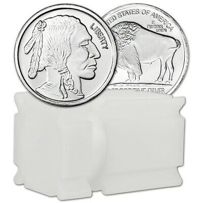 TWENTY (20) 1/2 oz. A-MARK Silver Round Buffalo .999  Roll Tube of 20