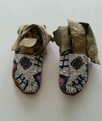 19th Century Native American Sioux Beaded Children Moccasins, Rare !!