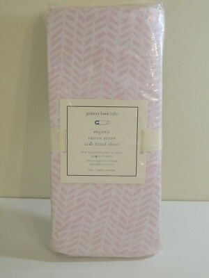 Pottery Barn Pink Organic Sateen Arrow Crib Fitted Sheet NEW FREE SHIPPING
