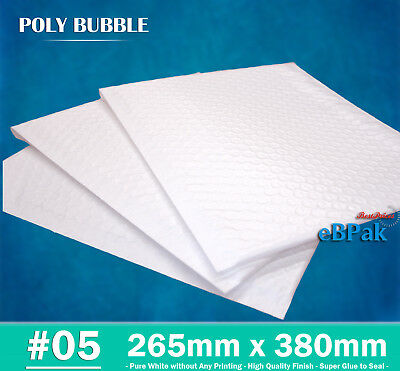 Top Quality Poly Bubble Mailer #05 265x380mm Plastic Padded Bag Envelope