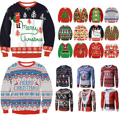 Unisex Ugly Christmas Sweater Women Men Xmas Jumper Sweatshirt Pullover Tops New