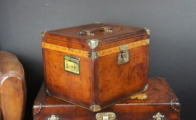 Antique Leather Hatbox Trunk by MOYNAT
