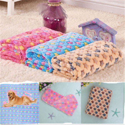 Pet Mat Paw Print Cat Dog Puppy Fleece Winter Warm Soft Blanket Bed Cushion New