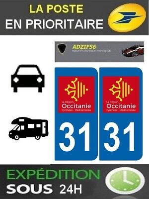 2 Stickers Plaque Auto Immatriculation Departement 31 Logo Region Occitanie
