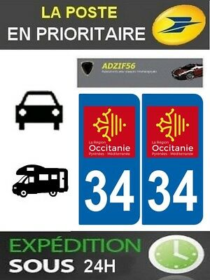 2 Stickers Plaque Auto Immatriculation Departement 34 Logo Region Occitanie