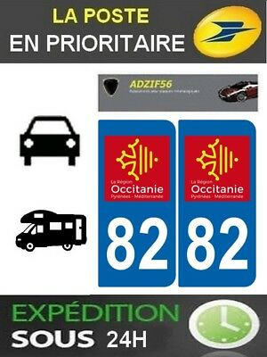 2 Stickers Plaque Auto Immatriculation Departement 82 Logo Region Occitanie