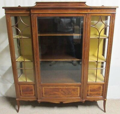 Finest Quality Maple & Co Edwardian Display China Cabinet, Glass, Mahogany, Inla