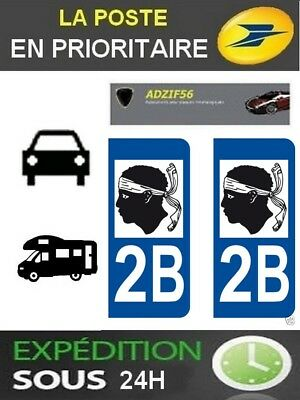 2 Stickers Plaque Auto Immatriculation Departement 2.b Haute Corse Logo Region