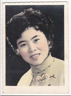 Chinese Woman Girl Western Style Hand Colored Studio Photo 1950s-1960s China