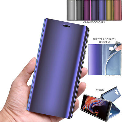 Mirror Effect Flip Case Full Cover Soft Holder Stand for Samsung Galaxy Note 9