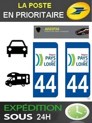 2 Stickers Plaque Auto Immatriculation Departement 44 Region Pays De La Loire