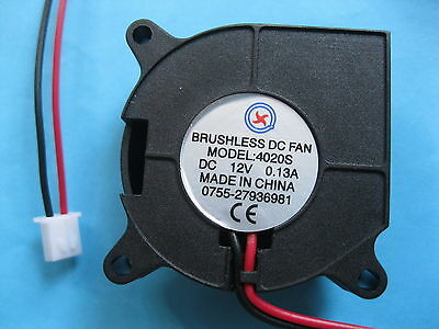 12 pcs Brushless DC Blower Fan 12V 4020S 40x40x20mm 2 Wires Sleeve-bearing New