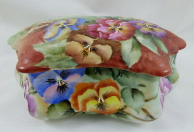 """Antique French or German Hand Painted Floral Covered Vanity Dresser Box Large 7"""""""