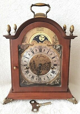 Warmink Mantel Clock Dutch Westminster Chimes Vintage Silent Mode 8 Day Key 36cm