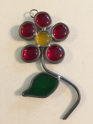 Vintage Leaded Stained Glass Suncatcher Red & Yellow Flower With Green Leaf