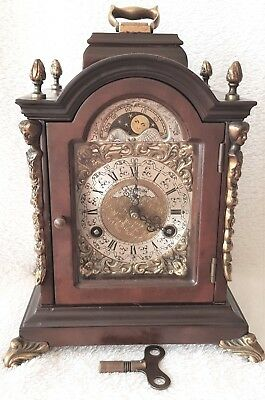 Warmink Mantel Clock Wubba Pendulum Dutch Vintage Era Bracket Shelf Moon Phase