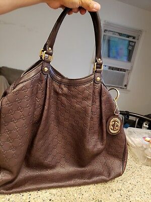 d9ab2a5a58d Authentic Gucci SUKEY Guccissima Brown Leather Large Tote Bag Handbag Near  Mint