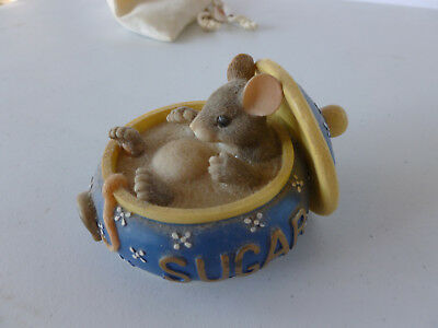 Charming Tails Retired Collectible Sugar Bowl With Mouse Figurine (Pre-Owned)