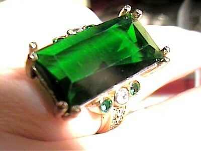 VINTAGE ANTIQUE green TOPAZ SILVER RING 10 MEDIEVAL SAPPHIRE STERLING 925