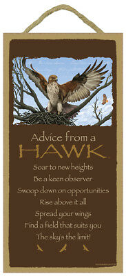 ADVICE FROM A HAWK Wood INSPIRATIONAL SIGN wall hanging PLAQUE bird animal USA
