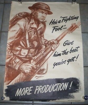 1942 Hes A Fighting Fool Give Him The Best Youve Got More Production Poster Wwii