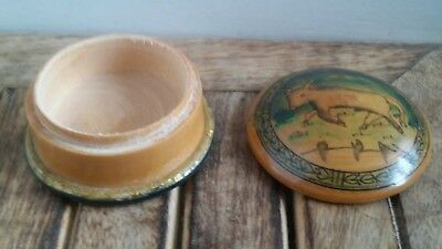 wooden trinket treen pot. round . vintage bull cow brown painted.