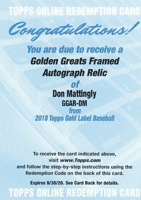 2018 Topps Gold Label Baseball Part 4 Autograph Cards