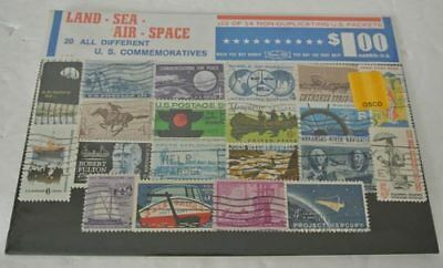 RARE Vintage LAND SEA AIR SPACE United States STAMP COLLECTION Packet